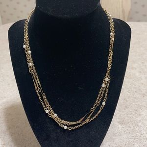 VINTAGE SARAH COVENTRY GOLD FAUX PEARL NECKLACE